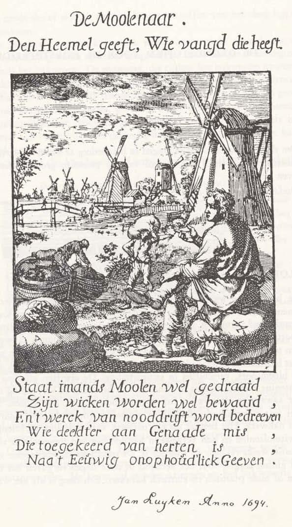 Prent van Jan Luyken met aandacht voor de molenaar